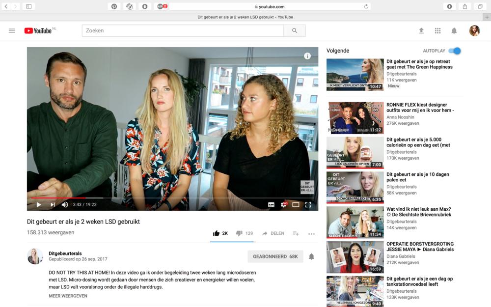 Youtube kanaal 'Dit gebeurt er als'   Marije, bekende youtube testte microdoseren 4 weken en maakte hier twee video's over    https://www.youtube.com/watch?v=9q9V1-LlXyc&t=308s