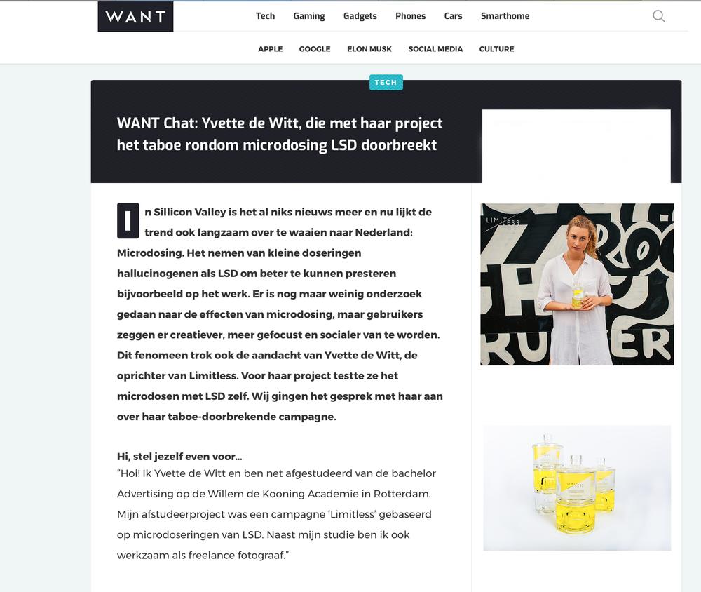 Interview WANT,    https://www.want.nl/yvette-de-witt-microdosing-lsd/