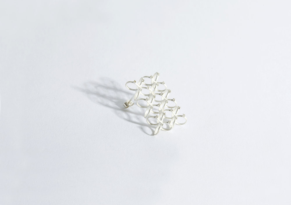 20101  | Earring Silver, 1mm diamonds