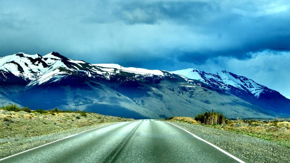The road to eternity. Taken from the bus on our way from El Calafate.