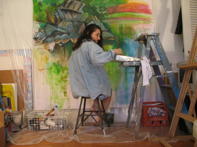 In the studio - Many of my plein air paintings, working studies and photography make their way back into the studio room as a source for reference while creating larger scale paintings.