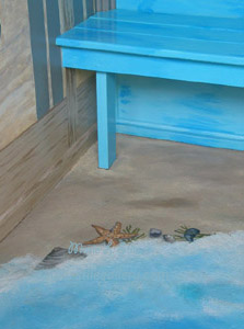 Freehand floor painting of sand & surf