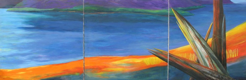 A Hudson Valley  triptych in oil 4'x12'