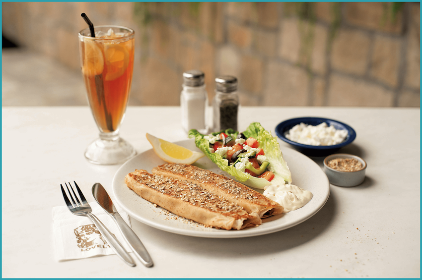 Middle-Eastern spiced minced lamb wrapped in two delicate crepes, topped with dukkah and served with a Greek Salad and Greek yoghurt.
