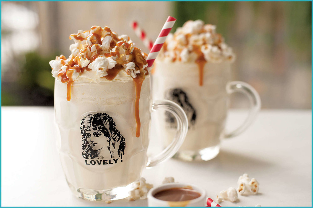 Our famous Swiss Mountain Malt made with popcorn flavoured syrup, topped with fresh cream, studded with salted popcorn and drizzled with salted caramel sauce.