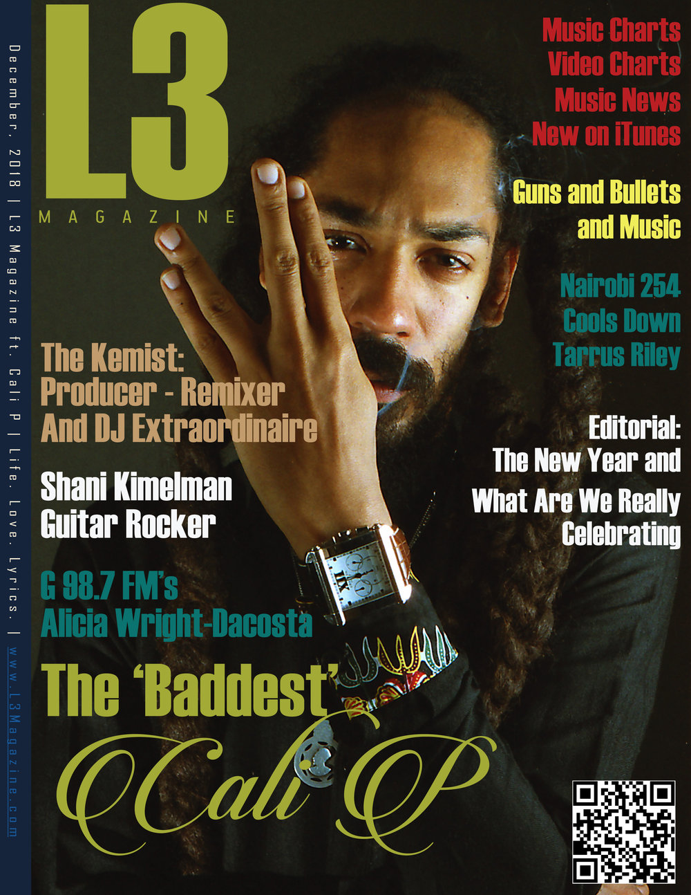"L3 Magazine cover & interview: Cali P - made it into the cover with a picture of reggae artist Cali P that we did for his latest EP ""Vizion I""shot on 35mm film in may '18"
