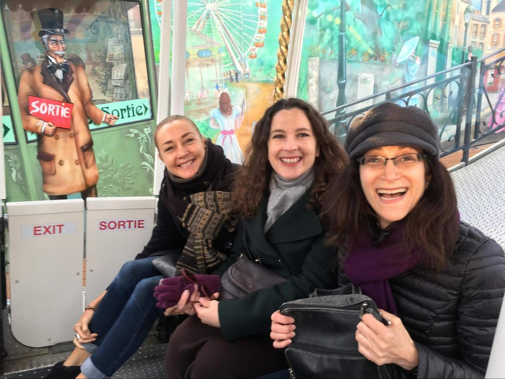 Emma, Amel and Susan, having some fun on the Ferris wheel on our last evening together!