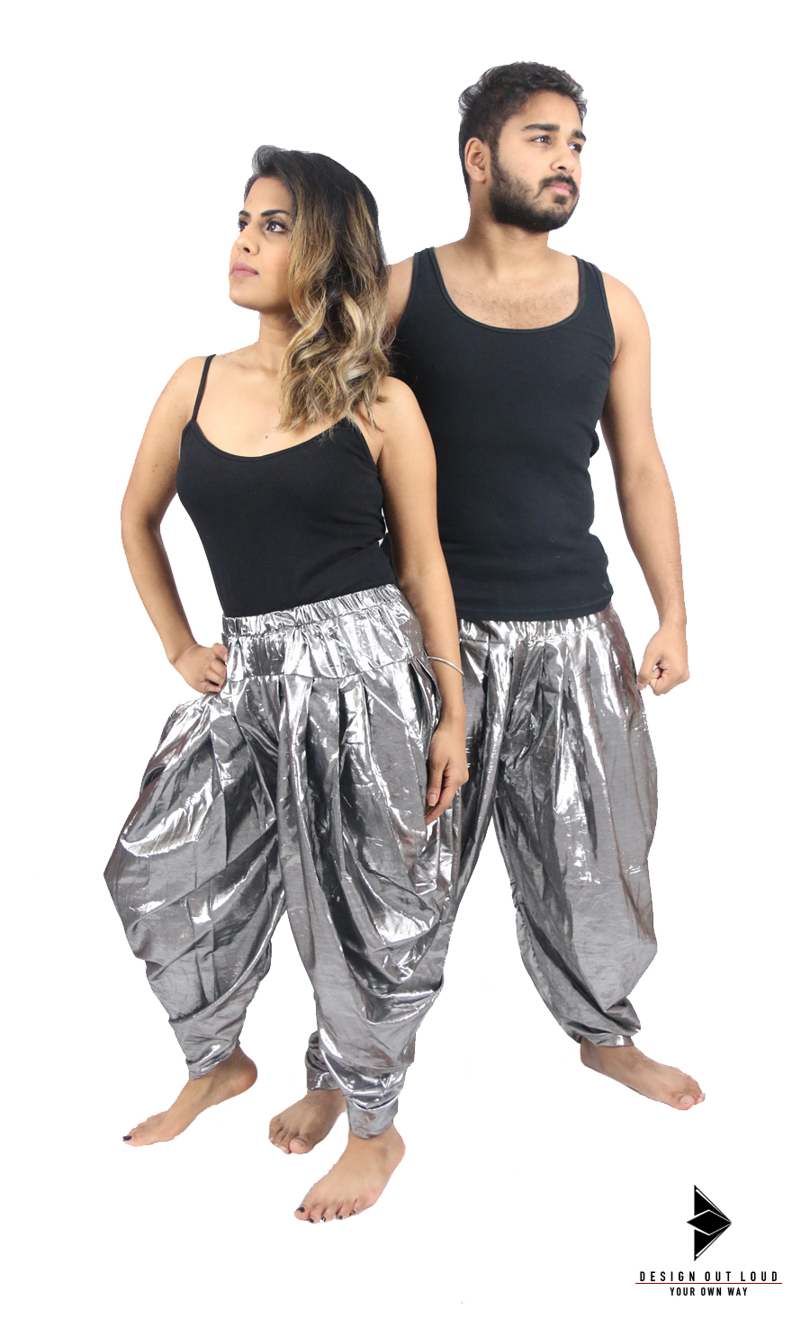 Unisex Shining Silver Harem Pants.jpg