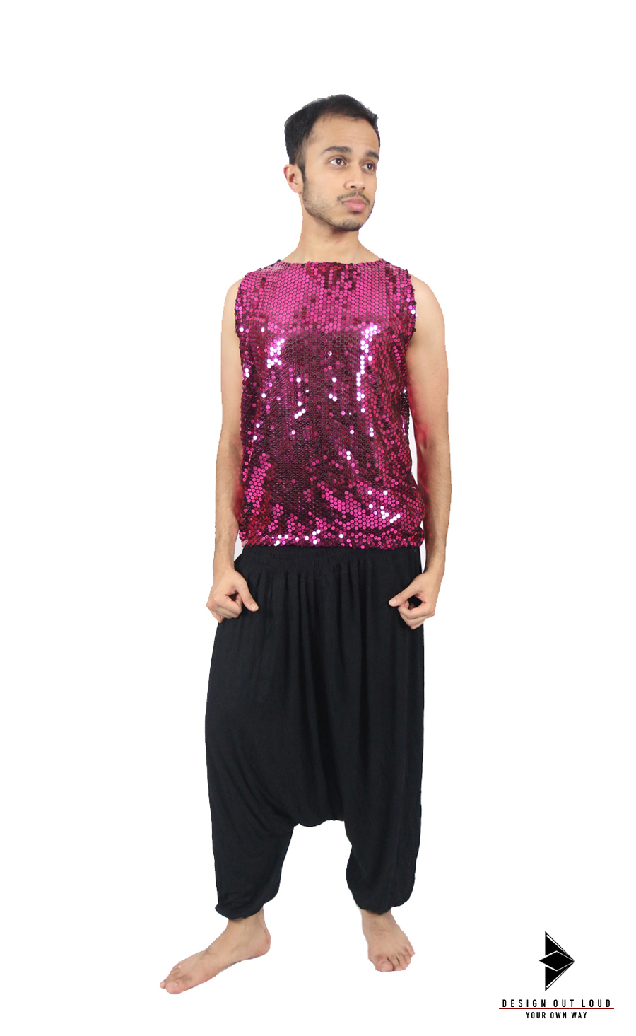 Sleeveless Pink Glittering Top .jpg