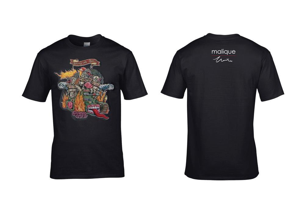 Malique x Shafiq Nordin - Perang Dah Tamat, black short-sleeved t-shirts.