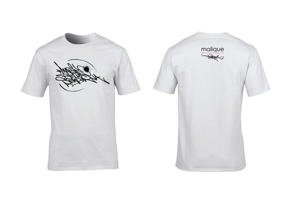 Malique x Asmoe Roc - Masih Belum Sempurna, white short-sleeved t-shirts.
