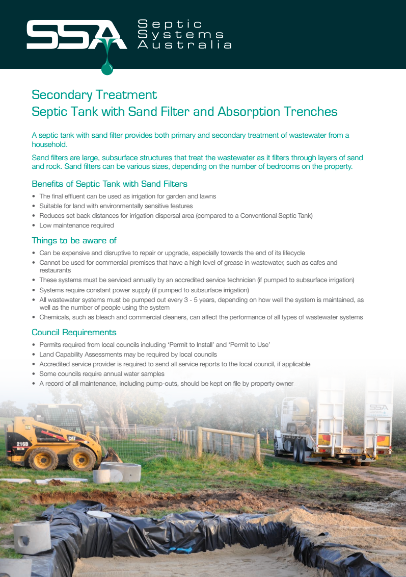 Secondary Treatment: Septic Tank with Sand Filter and Absorption Trenches