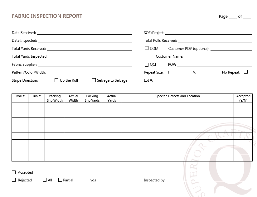 This is the form that the 'Inspection Report' is filed on. If a fabric fails inspection you will be sent a copy of this form along with pictures of the said defects.