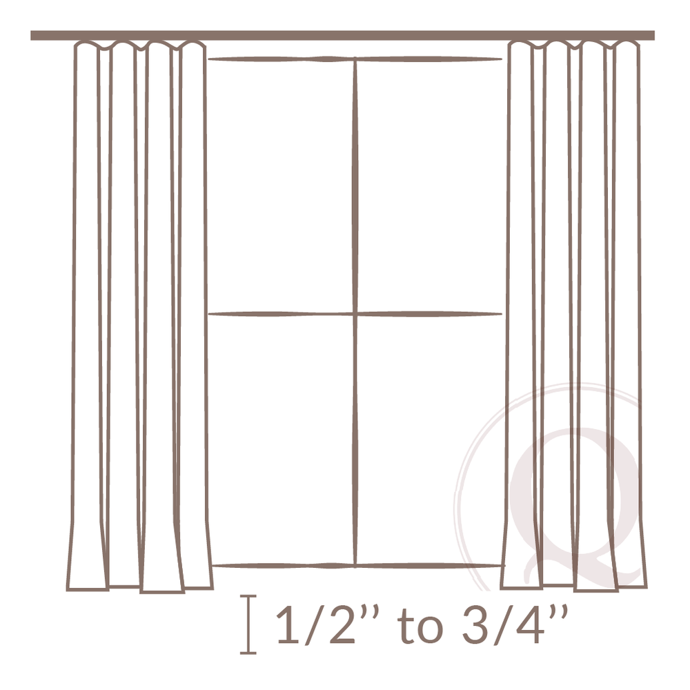 """- 2. Drapery treatments are also designed to finish ½"""" to ¾"""" above the finished floor or window sill, minimizing the light escaping below the treatments."""