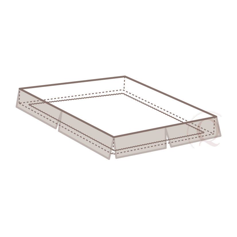 """Elastic Hugger - An interior """"fitted sheet"""" utilizing continuous elastic to minimize movement and secure to box spring. Not visible to guests. This is an internal component only."""