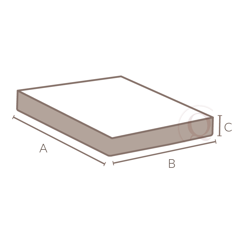 dimensions: - three measurements are needed for bottom of bed treatments; length, width and drop. Length (A) from head to foot and width (B) from one side to the other. The drop (C) is from the top of the box spring to the end of decorative fabric.