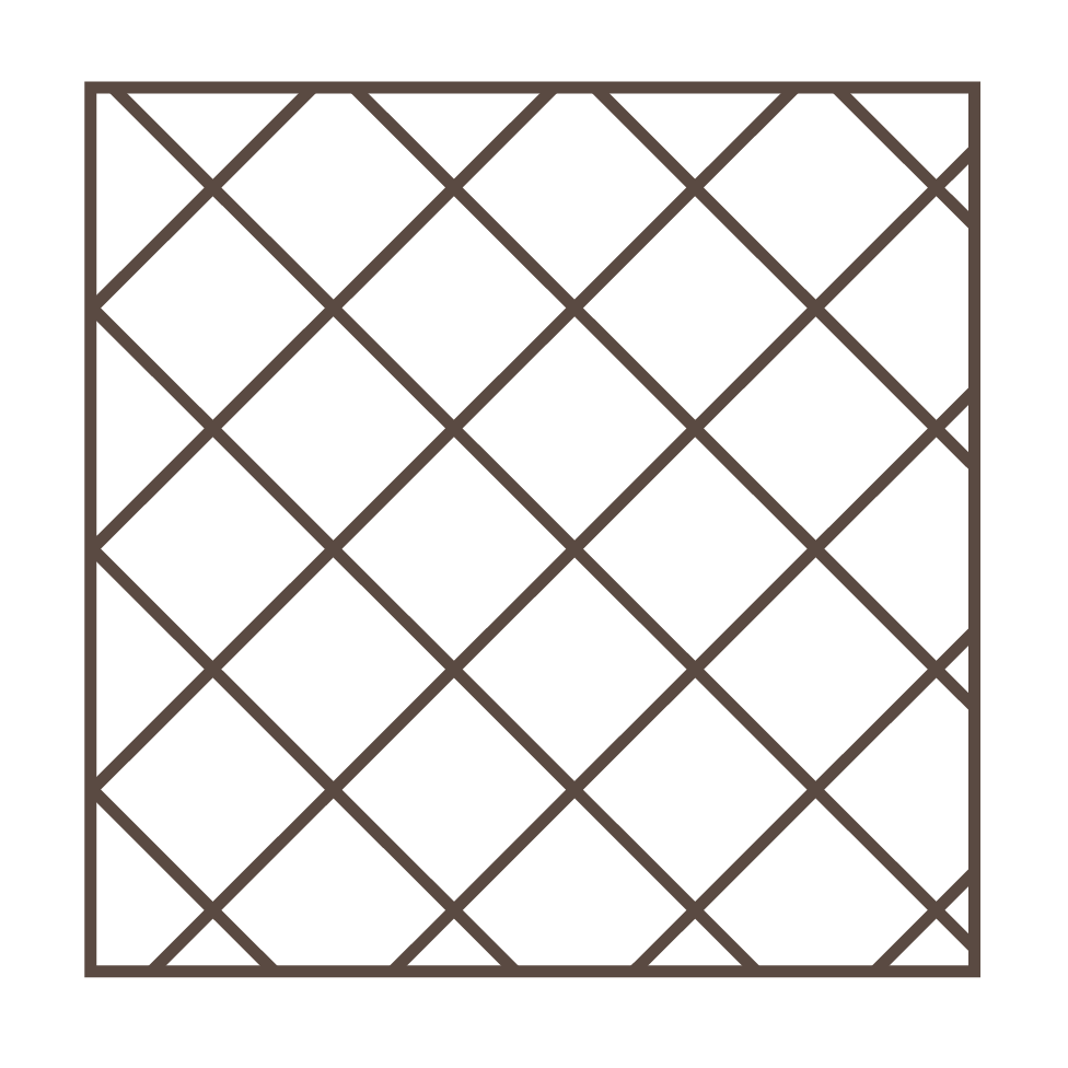 """Box on Tilt - More popular than the diamond, this pattern keeps all four sides of the box equal length for consistent spacing and fill within the pattern, identical to our box pattern simply angled on point for a slight decorative twist, available in 6"""", 8"""" or 10"""" configurations."""
