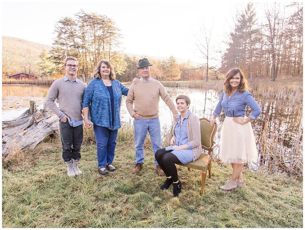 Fall Family Portraits by Pond in Covington, Virginia