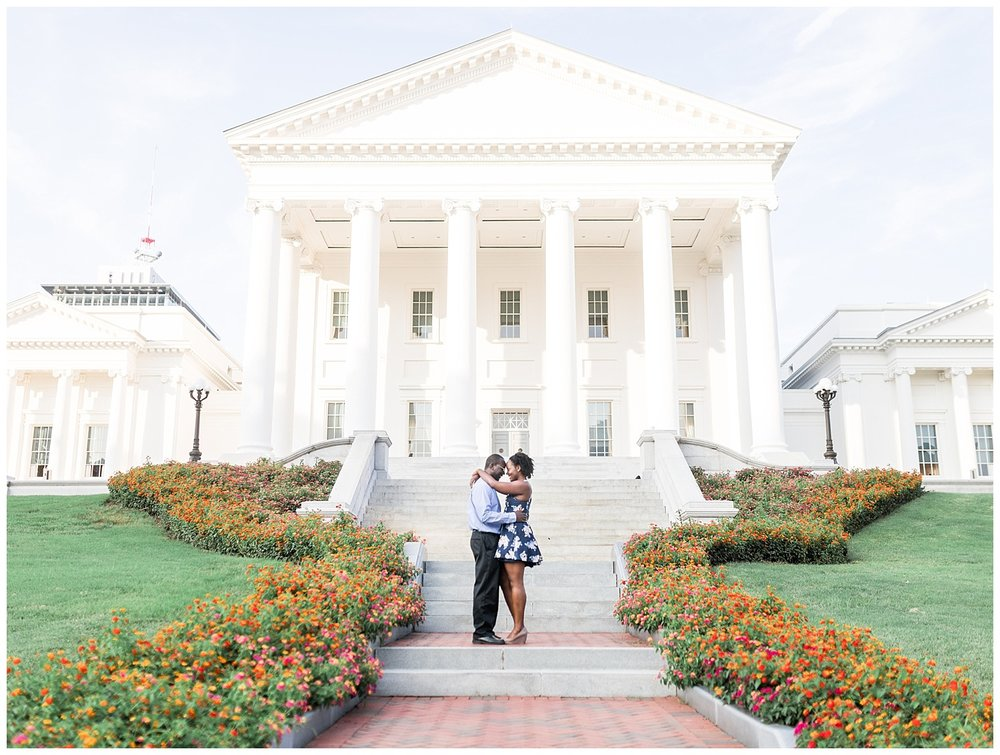 Virginia State Capitol engagement session - Cherise + Jeremy