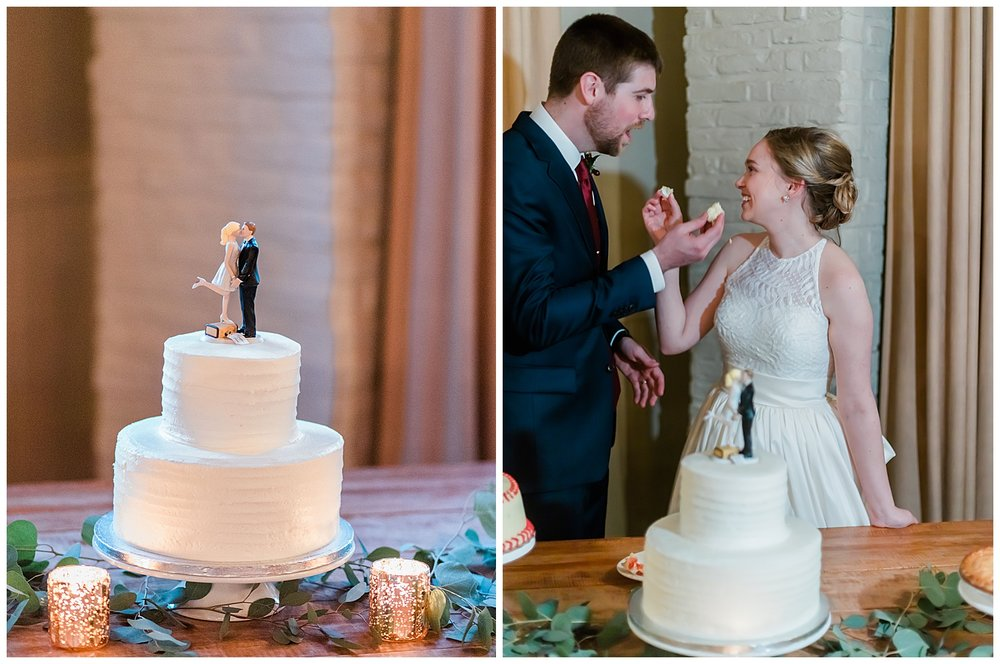 Early Mountain Vineyards Wedding Reception Cake cutting - Charlottesville, VA