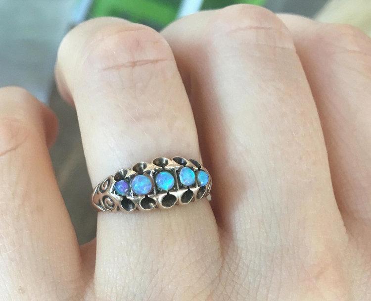 Sale Rare Vintage Victorian Australian Black Opal Engagement Ring