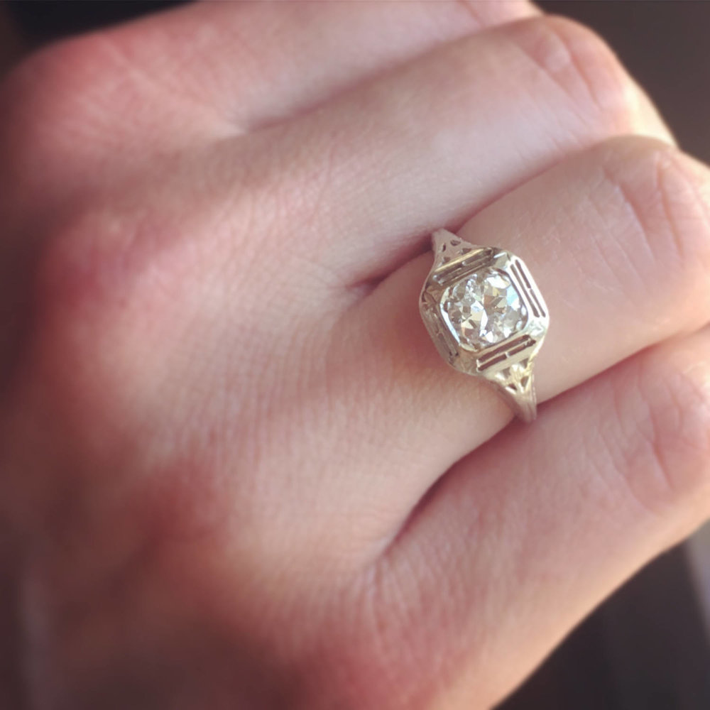 1920s Edwardian/Art Deco Vintage Engagement Ring, .60 Carat ...