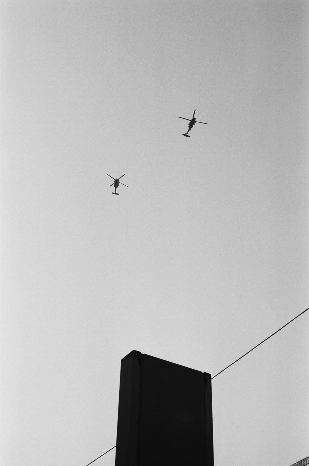 Surveying helicopters.   Staten Island, New York City. 2017.
