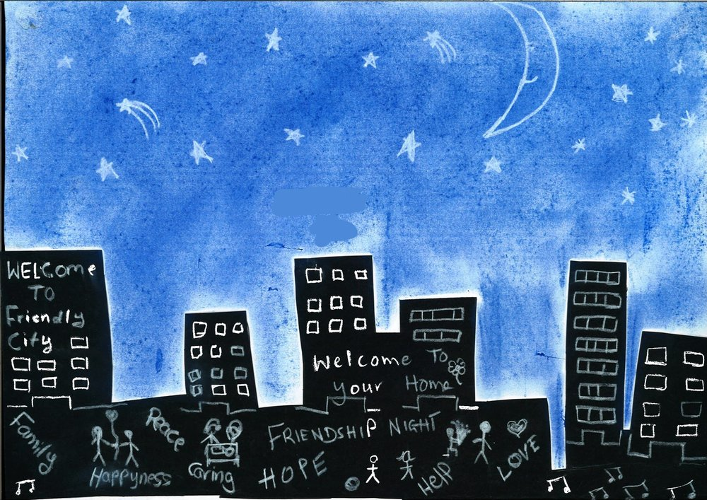 "The child's parents are from Iraq, and have been in Australia since 2012. For this image, the child and research team member, Tia, joined forces to depict the implicit - and explicit - characteristics of a ""friendly city"". Whilst the city is dominated by dark, and anonymous, high-rise buildings, the night sky - and smiling moon - evoke feelings of calm and peace. The city's potentially intimidating nature is further countered through the emphasis of particularly desirable, and aspirational, qualities - including family, love and peace - and an environment where once can have access to care and help, if required."