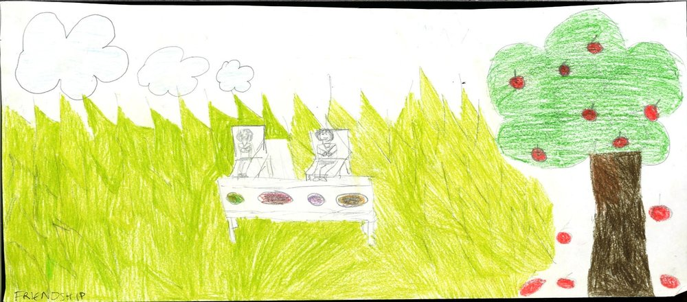 Like many of the other participants' works, the qualities of friendship are best represented within the natural context. Using pencil, they convey the feeling of a breezy, warm day. Two friends are enjoying sitting out in the sun, sharing a variety of different food plates - with fresh apples to consume as desired.
