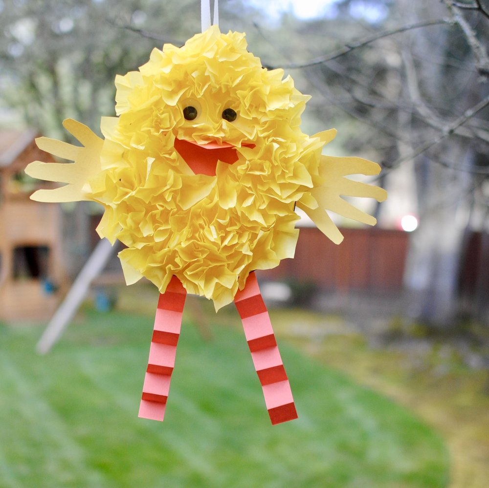 Fluffy chick - The more tissue paper you use, the fluffier your chick will look. Don't forget to write your name on the back and display it somewhere for the whole family to enjoy.