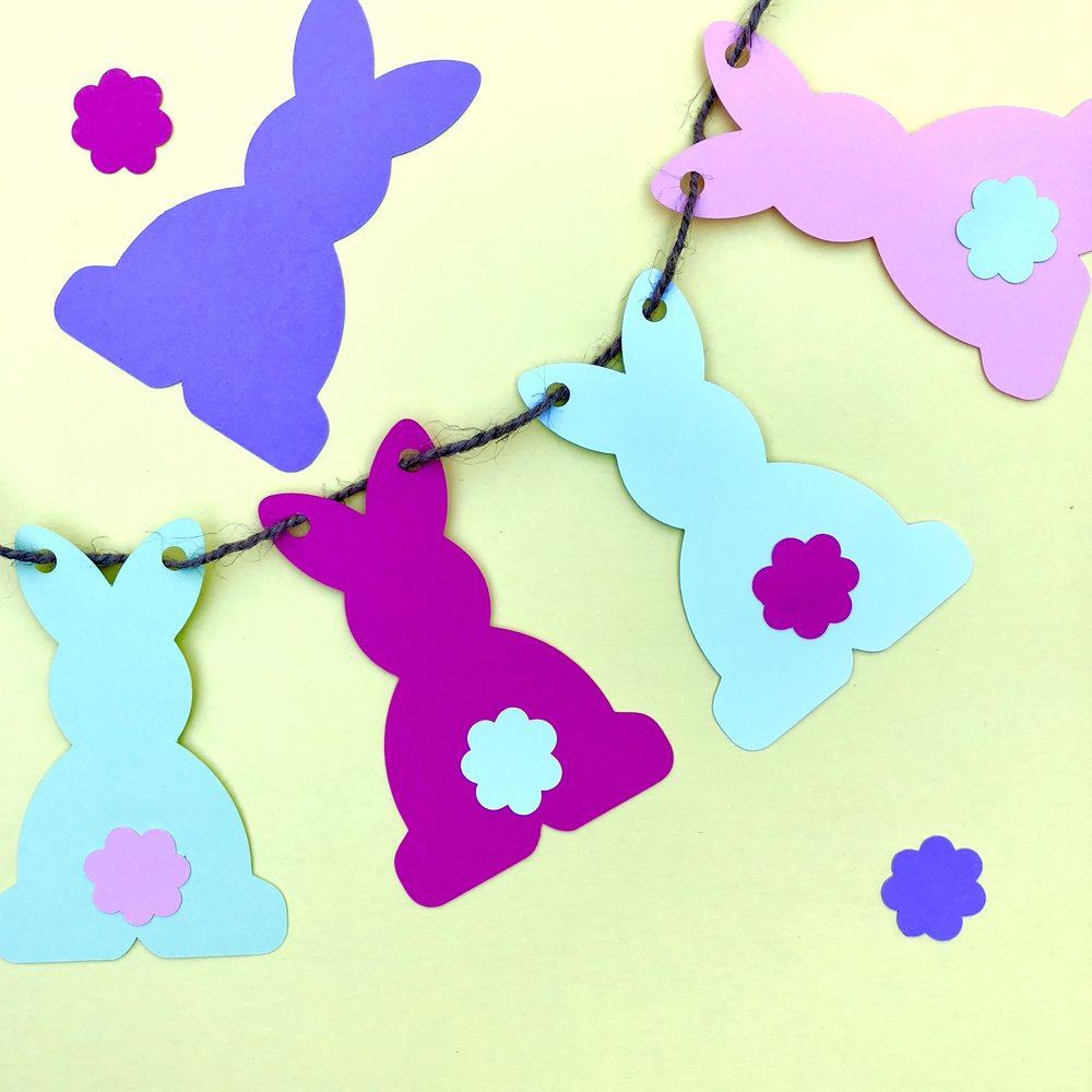 Bunny banner - Mix and match the colors of bunnies and tails for a fun look. Then thread, hang and admire!