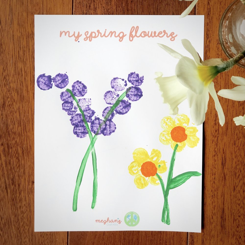 Spring Flower Painting - With your recycled cork, paint purple hyacinths, yellow primroses, and any other flowers you like. Wipe the paint off the cork and brushes when you're done so you can use them again and again.