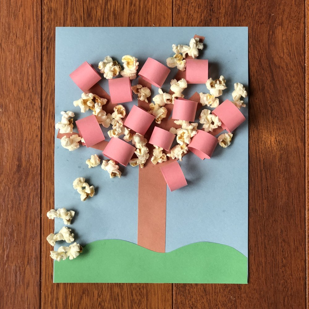 Cherry-Pop Blossom Tree - Use lots of glue to hold that popcorn in place! And don't leave your artwork out overnight if you have cats or dogs in the house. (The popcorn is just too tempting for them to resist. We learned that the hard way.)