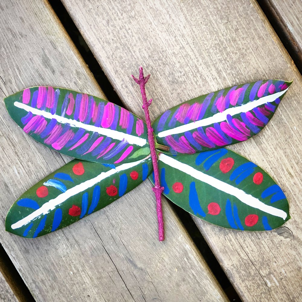 We painted fallen leaves and twigs to make a pretty dragonfly. (Dina the Dragonfly, my daughter named her.)