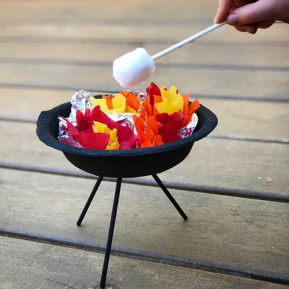 Flaming Grill and Skewer Set - TIP: Wrap the tissue paper squares around the eraser end of a pencil to make them stand up and look like a blazing fire.PLAY: While you roast your