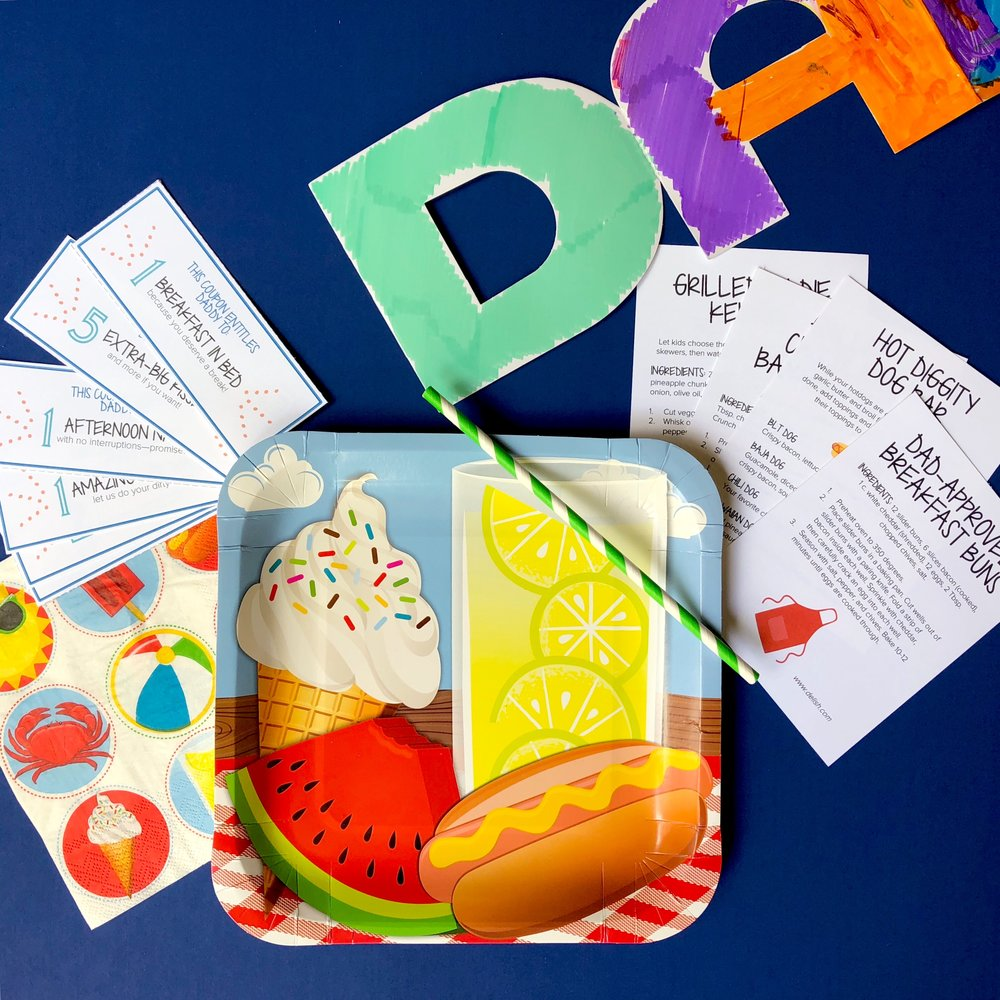 Folding Dad Card - Use your favorite markers and your wild imagination to design a card Daddy will adore. Give it to him on Father's Day along with the coupon book and a special meal and place setting.