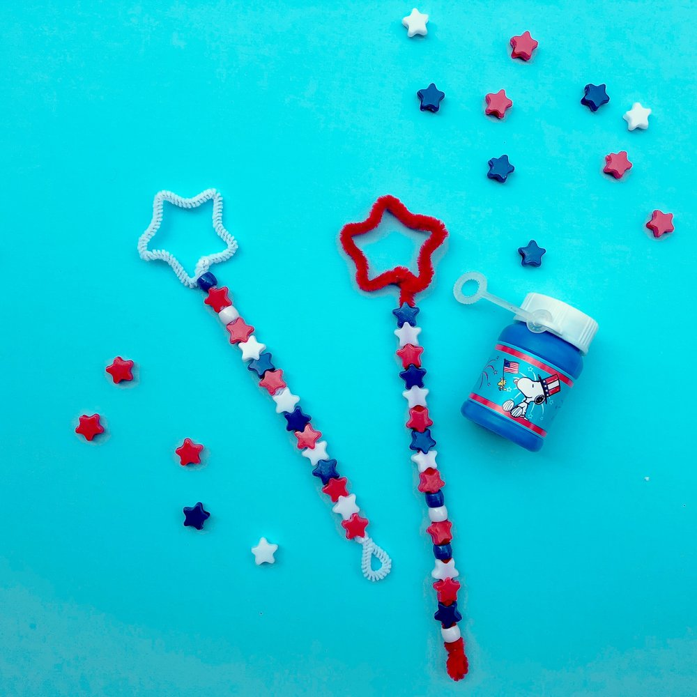 Star Spangled Bubble Wands - QUESTIONS FOR LEARNING: How many beads do you have? How many more (or fewer)red beads do you have than blue? What do you get when you add the blue and white beads together?What patterns can you make? Can you count by twos? What about fives?