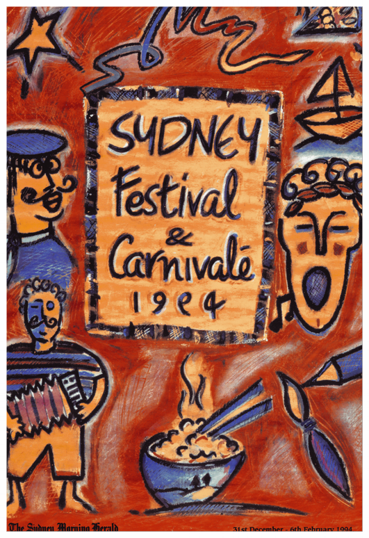 SYDNEY FESTIVAL POSTER COMPETITION 1994. thE FIVE DOLLAR DOODLE THAT SEED FUNDED THE BRAND