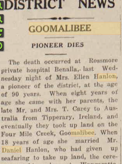 CHRISTOPHER'S  GREAT-GREAT GRANDMOTHER (MOTHER OF TOM HANLON) WAS AN 'AUSTRALIAN PIONEER' (THE ARGUS NEWSPAPER EPITAPH).