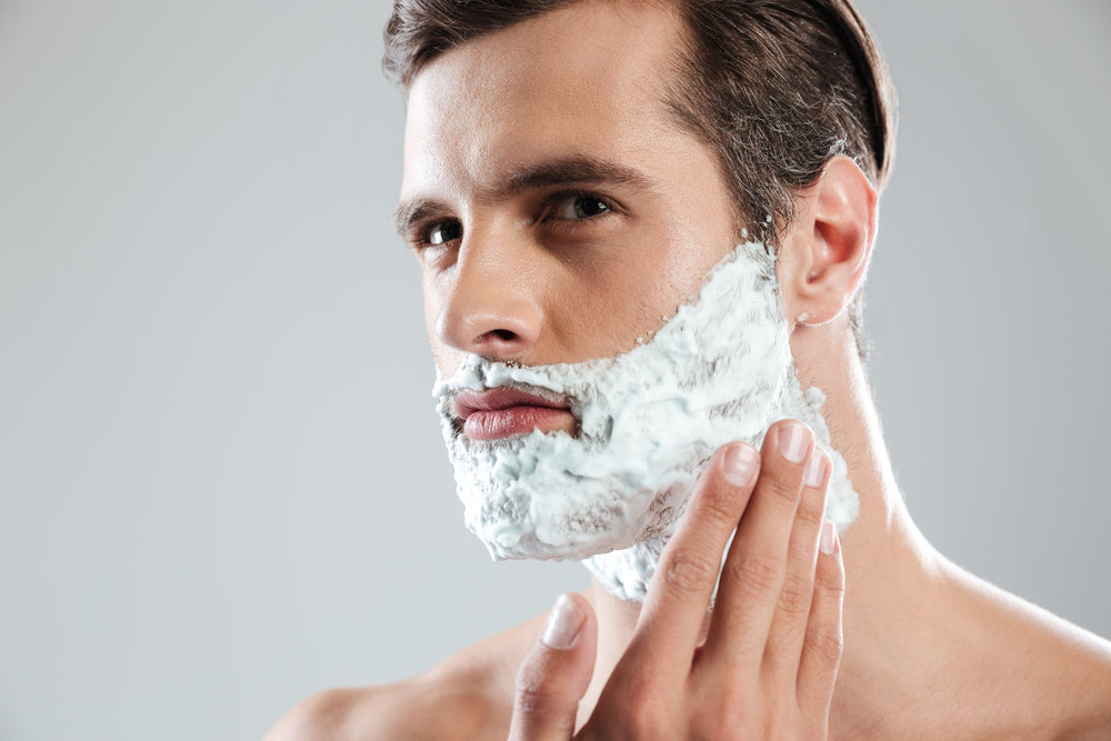 APPLY SHAVING CRÉME  THINLY  WITH FINGER TIPS (IT'S EXTRA THICK SO USE LESS) OVER WET SKIN.