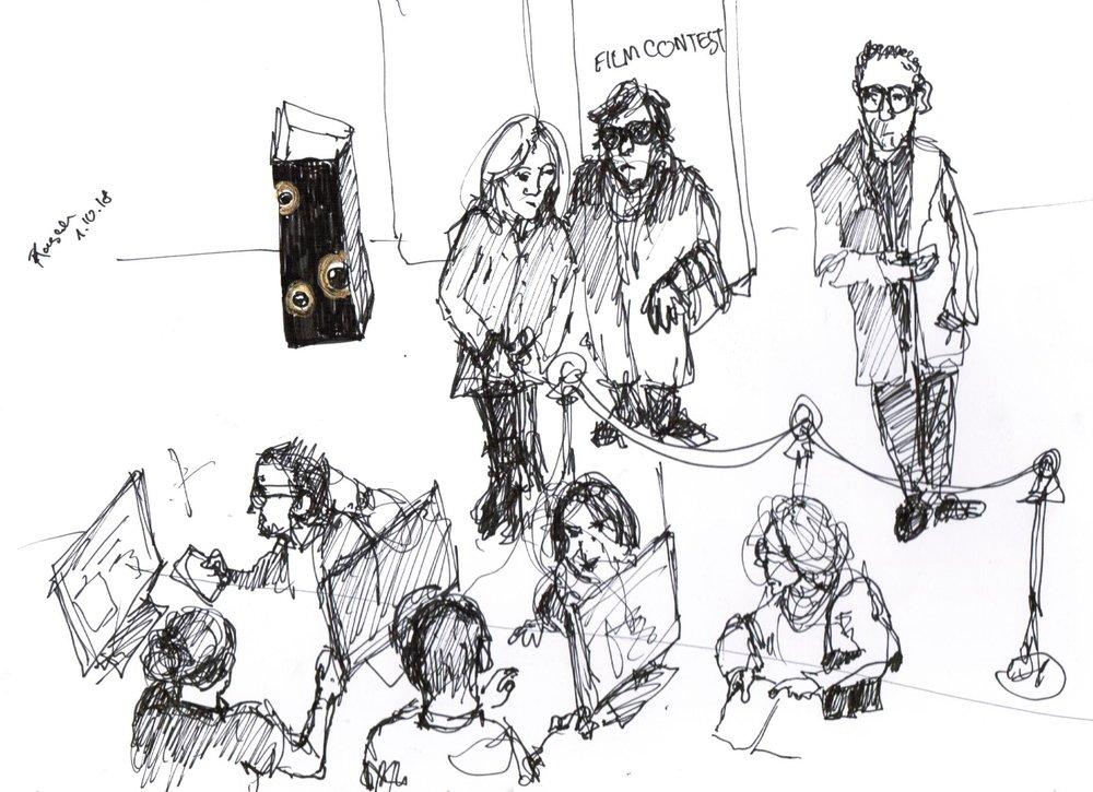 Book my drawing skills: - - Seit ein paar Jahren begleite ich mit dokumentarischen Zeichnungen verschiedene Events und Konferenzen wie z.B. das Zürich Film Festival. Falls Sie für Ihre Firma ein grösseres Event oder eine Konferenz planen und dies auf eine besondere Art verewigen möchten, freue ich mich auf Ihre Anfrage.- In the past two years I have been documenting events with my drawings for example the Zurich Film Festival. If you are planning a big event or conference for your company and want to document it in this special form of Art, I will be very happy to hear from you and give you more details and price offer.
