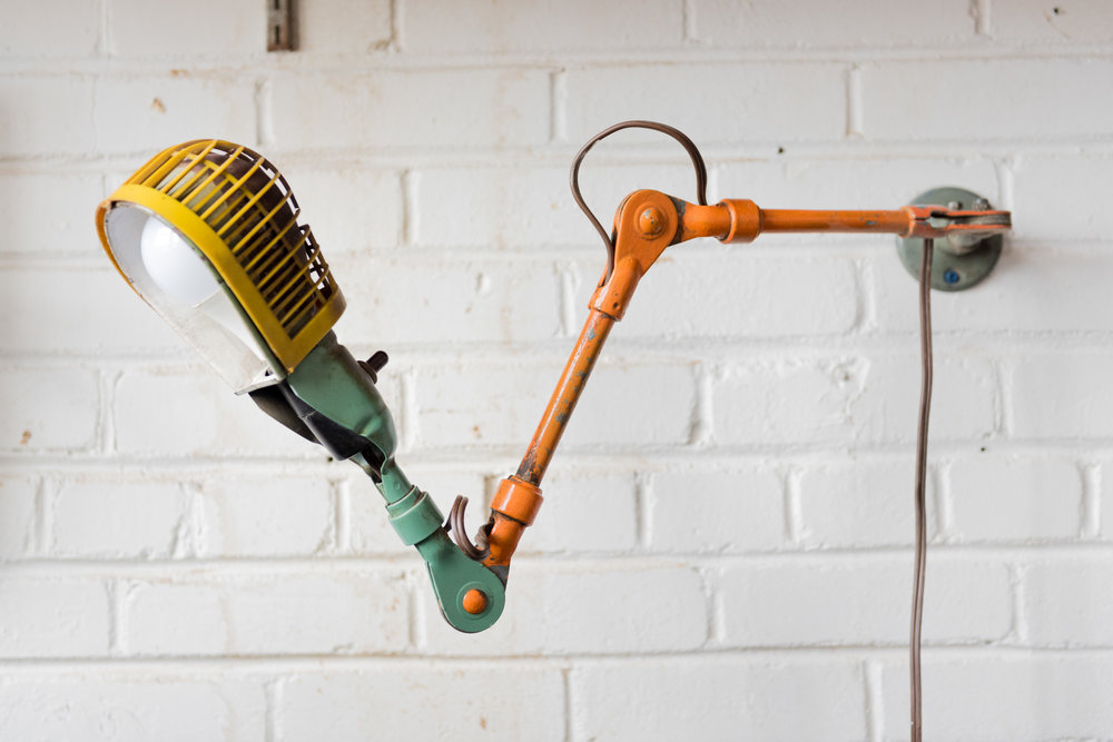 Our favorite light which we currently use at the Lathe light. We took this beaut off of an old machinists work table.