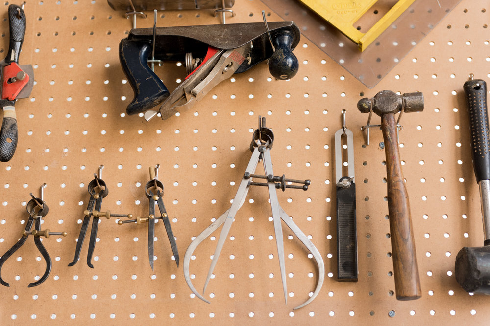 Most of our work is done with hand tools. Organization is important!
