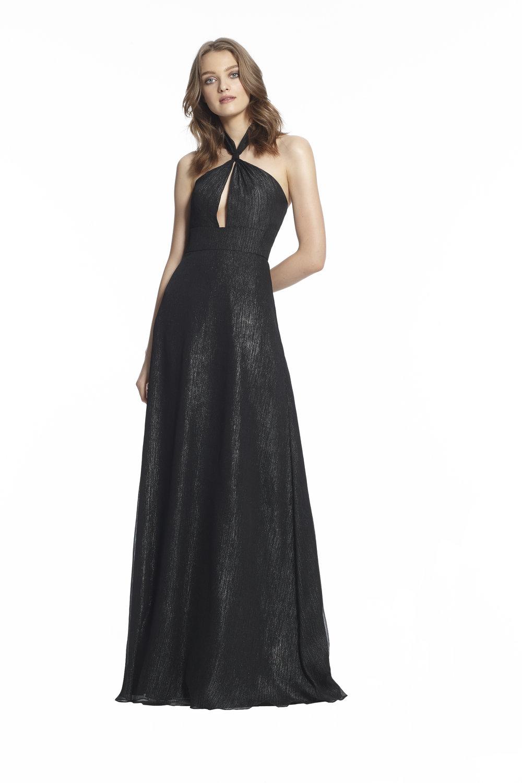 Monique Lhuillier Kaia 450488 Black Metallic Chiffon $470