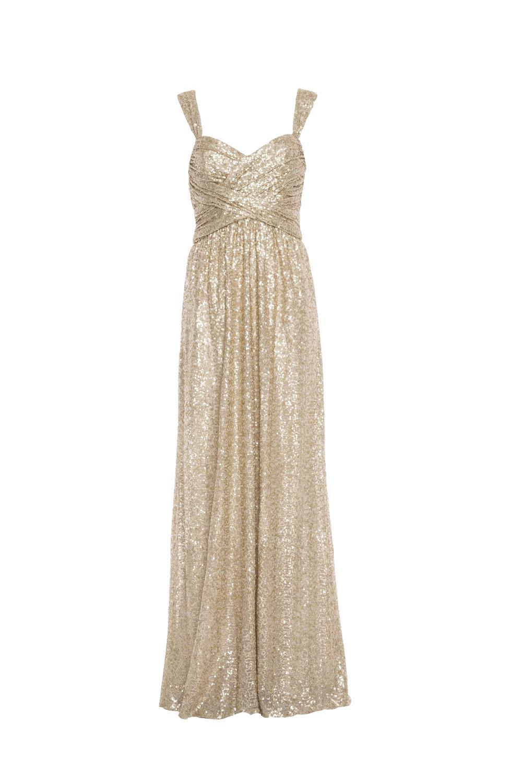 Amsale Loire G974Q Gold Sequin