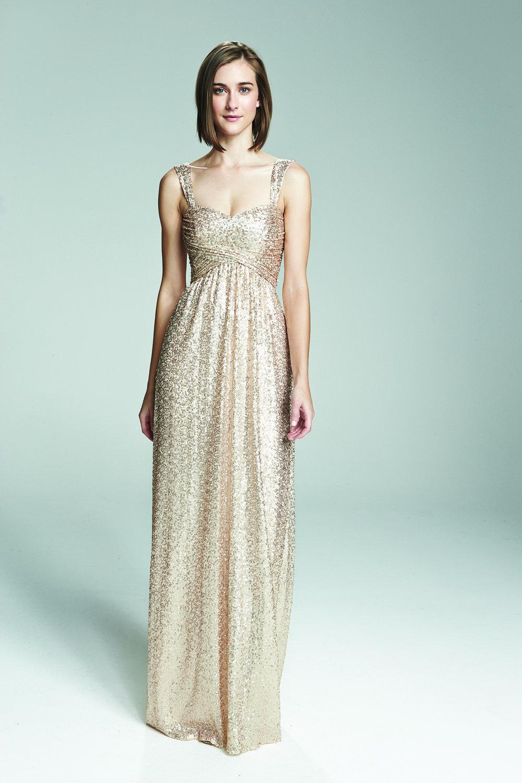Amsale Loire G974Q Rose-Gold Sequin