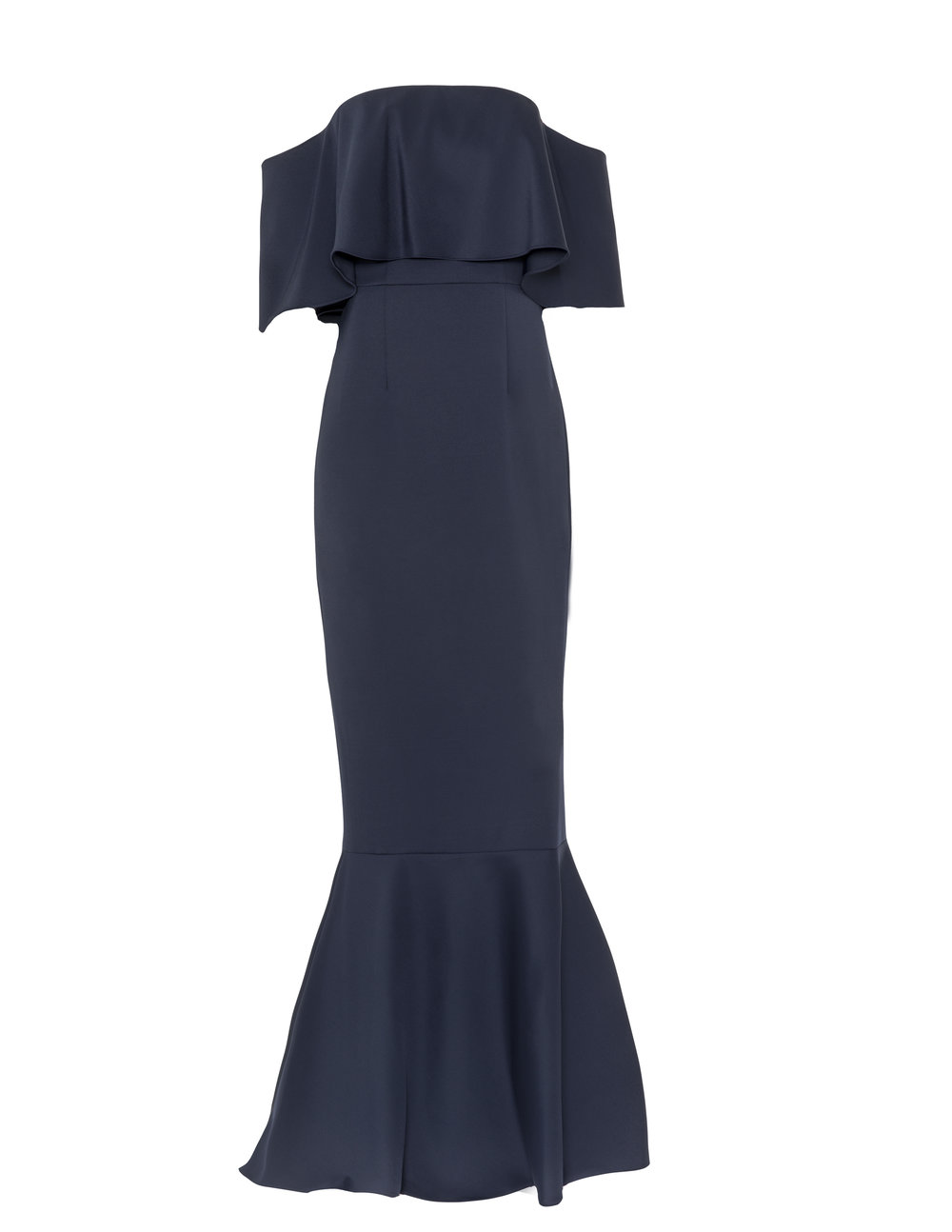Monique Lhuillier 450500 Navy Stretch crepe