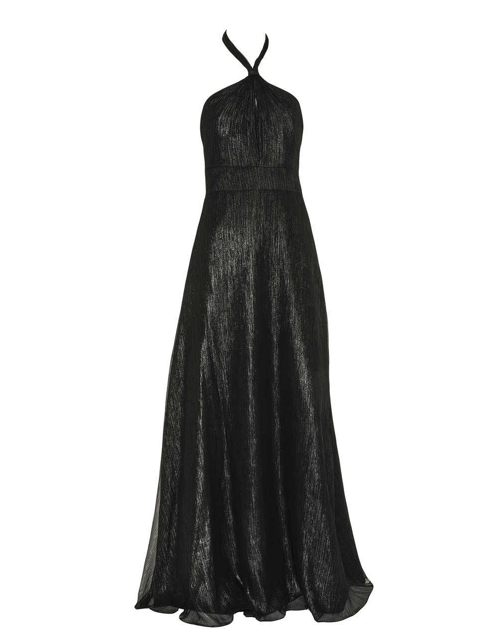 Monique Lhuillier 450488 Dark Charcoal Metallic chiffon