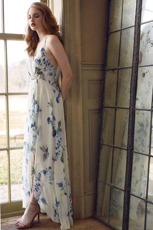 c13abd3eef11 Jenny Yoo Farrah Printed Luxe Chiffon Soft Sage Blue Ohana Print
