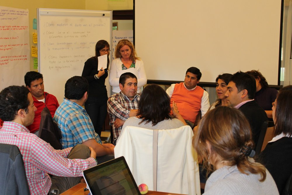 Me facilitating a socratic circle conversation about a high conflict issue in a rural community in Chile
